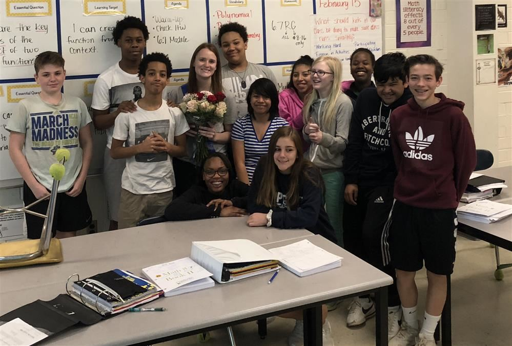Picture of Culbreth Teacher of the Year Molly Caudill with her first period class