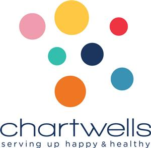 Chartwells K12 logo serving up happy and healthy colorful dots